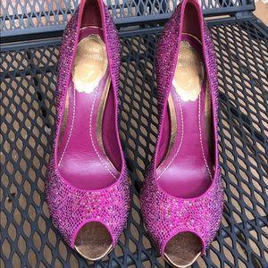 René Caovilla Purple Rhinestones Heels New!